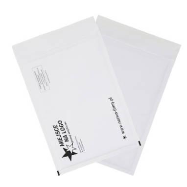 Koperty bąbelkowe białe kraft – z nadrukiem