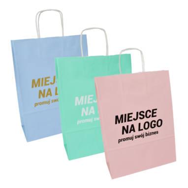 Pastell Papiertaschen mit Aufdruck